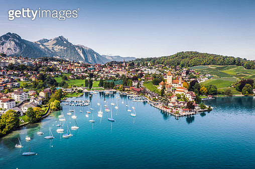 high angle view from drone point of Spiez town - gettyimageskorea