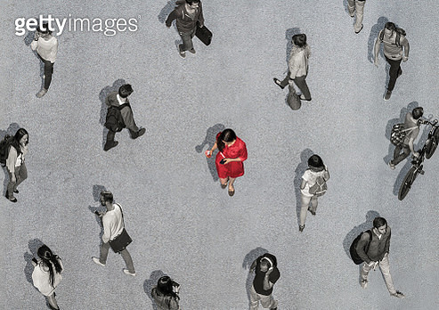 Aerial View of a colored woman among colorless people - gettyimageskorea