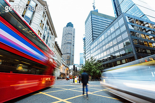 Long exposure view of a street in financial district in London, Greater London, UK - gettyimageskorea