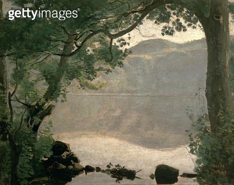 <b>Title</b> : Lake Nemi, 1843<br><b>Medium</b> : oil on canvas<br><b>Location</b> : Osterreichische Galerie Belvedere, Vienna, Austria<br> - gettyimageskorea