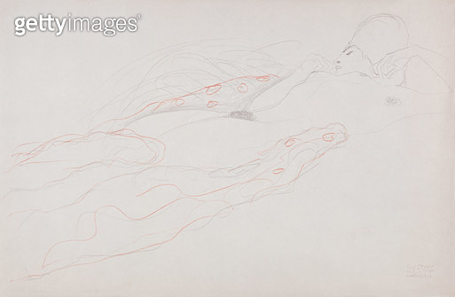 <b>Title</b> : Reclining Nude (pencil & coloured chalk on paper)<br><b>Medium</b> : pencil and coloured chalk on paper<br><b>Location</b> : Private Collection<br> - gettyimageskorea