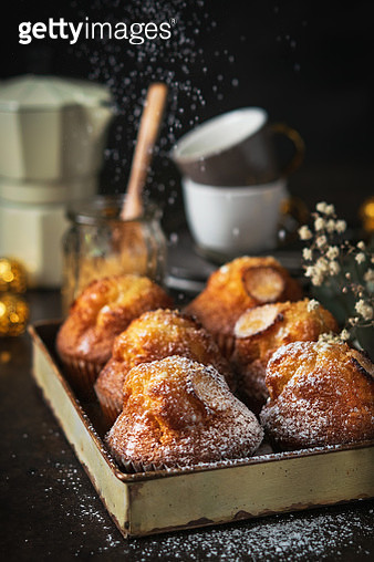 Homemade Muffins With Powdered Sugar And Coffee On Dark Background, Selective Focus Homemade - gettyimageskorea