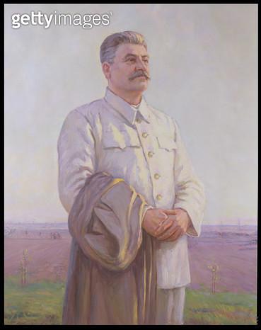 <b>Title</b> : Good Morning Motherland, Portrait of Joseph Stalin (1879-1953) (oil on canvas)<br><b>Medium</b> : <br><b>Location</b> : Private Collection<br> - gettyimageskorea