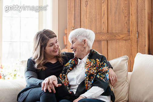 Senior woman celebrate mother's day with her family - gettyimageskorea