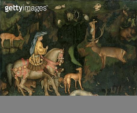 <b>Title</b> : The Vision of St. Eustachius, c.1438-42 (egg tempera on wood)<br><b>Medium</b> : egg tempera on wood<br><b>Location</b> : National Gallery, London, UK<br> - gettyimageskorea