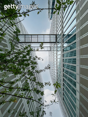 Plaza and modern building glass facade in Hangzhou business district, China - gettyimageskorea