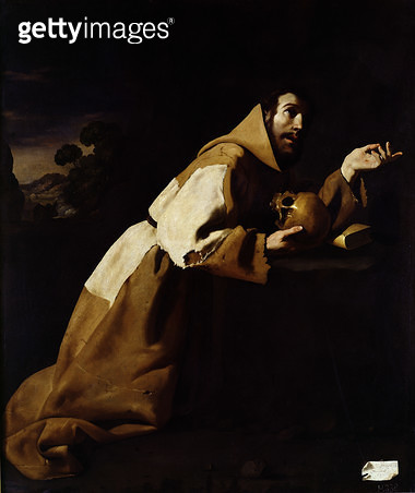 <b>Title</b> : St. Francis in Meditation, 1639<br><b>Medium</b> : oil on canvas<br><b>Location</b> : National Gallery, London, UK<br> - gettyimageskorea