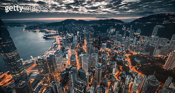 High Angle View Of Illuminated City Against Sky At Dusk - gettyimageskorea