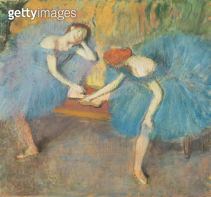 <b>Title</b> : Two Dancers at Rest or, Dancers in Blue, c.1898 (pastel on paper)<br><b>Medium</b> : pastel on paper<br><b>Location</b> : Musee d'Orsay, Paris, France<br> - gettyimageskorea