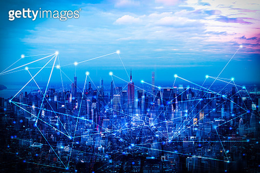 The network and technology of city in New York,USA - gettyimageskorea