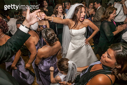 High angle view of bride and groom dancing at wedding reception - gettyimageskorea