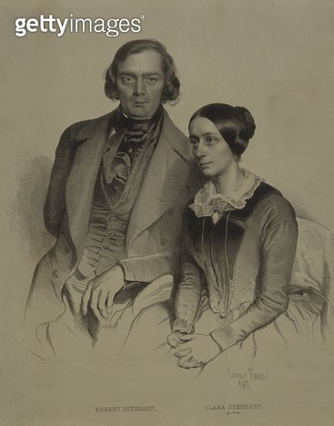 Austria/ Vienna/ Portrait of German composer/ pianist and classical music critic Robert Alexander Schumann (1810 - 1856) with wife Clara Josephine Wieck Schumann (1819 - 1896)/ German pianist and composer/ print - gettyimageskorea