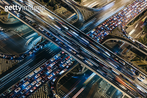 Aerial View of Crowded Traffic at Night - gettyimageskorea