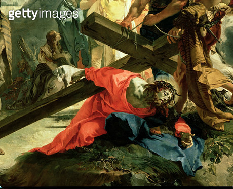 <b>Title</b> : Christ on the Road to Calvary, 1749 (oil on canvas) (detail of 60737)<br><b>Medium</b> : <br><b>Location</b> : Sant'Alvise, Venice, Italy<br> - gettyimageskorea