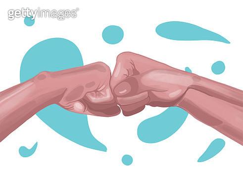 Alternative handshake. The fist bump. - gettyimageskorea