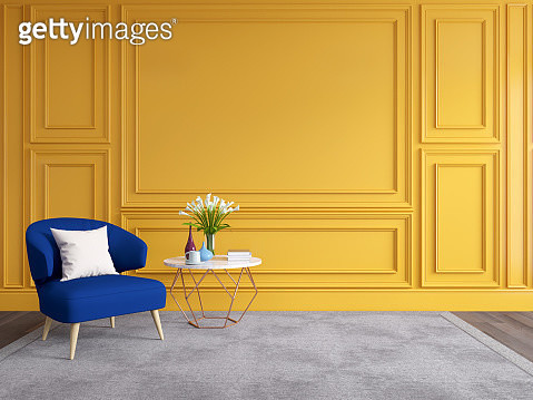 Modern And Classic Living Room Interior Design, Classic Blue Sofa With Yellow Wall - gettyimageskorea