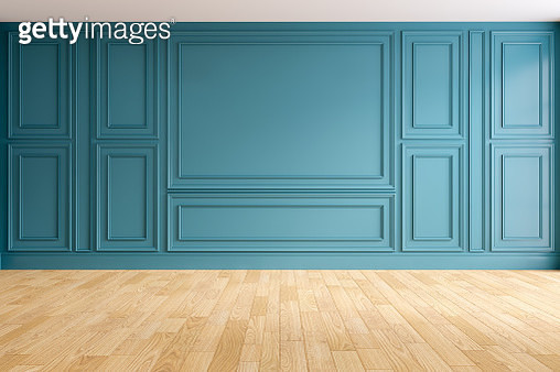 Modern And Classic Living Room Interior Design, Empty Room, Blue Wall And Wood Floors - gettyimageskorea