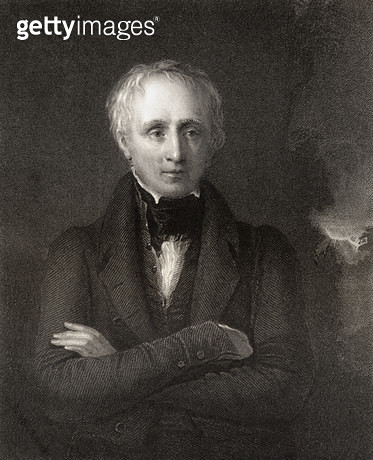 <b>Title</b> : William Wordsworth, engraved by John Cochran (fl.1821-65), from 'National Portrait Gallery, volume IV', published c.1835 (litho)<br><b>Medium</b> : <br><b>Location</b> : Private Collection<br> - gettyimageskorea