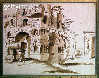 <b>Title</b> : The Arch of Janus in Rome (ink and wash on paper)Additional InfoL'Arc de Janus a Rome;<br><b>Medium</b> : ink and wash on paper<br><b>Location</b> : Musee Conde, Chantilly, France<br> - gettyimageskorea