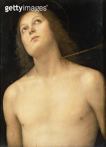 <b>Title</b> : St. Sebastian, c.1495 (tempera and oil on panel)<br><b>Medium</b> : tempera and oil on panel<br><b>Location</b> : Hermitage, St. Petersburg, Russia<br> - gettyimageskorea