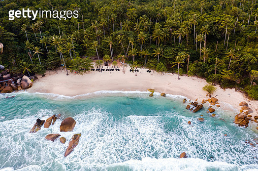 Aerial view of tropical beach at sunset, Ko Samui, Surat Thani province, Thailand - gettyimageskorea