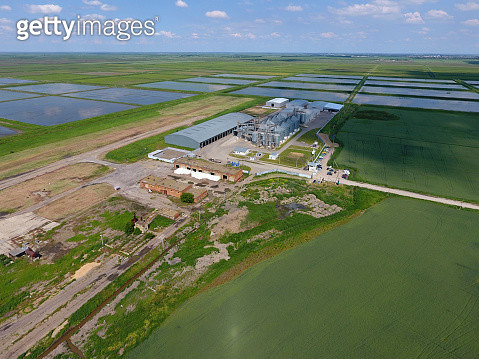 Plant For The Drying And Storage Of Grain. Top View. Grain Terminal. - gettyimageskorea
