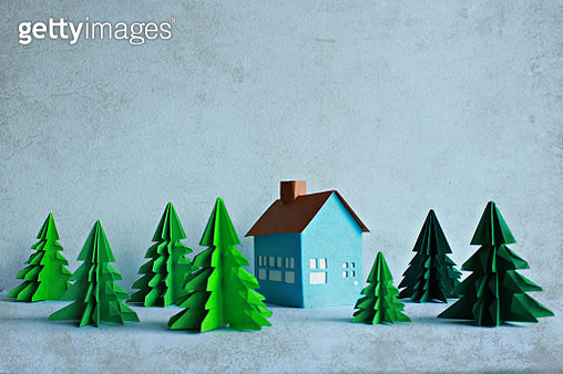 Paper house and trees - gettyimageskorea