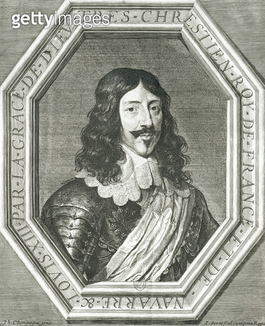 <b>Title</b> : Portrait of Louis XIII (1601-43) engraving by Jean Morin (engraving) (b/w photo)<br><b>Medium</b> : engraving<br><b>Location</b> : Bibliotheque Nationale, Paris, France<br> - gettyimageskorea