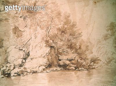 <b>Title</b> : A Study for a landscape (pen and bistre and wash on paper)<br><b>Medium</b> : pen and bistre and wash on paper<br><b>Location</b> : British Museum, London, UK<br> - gettyimageskorea