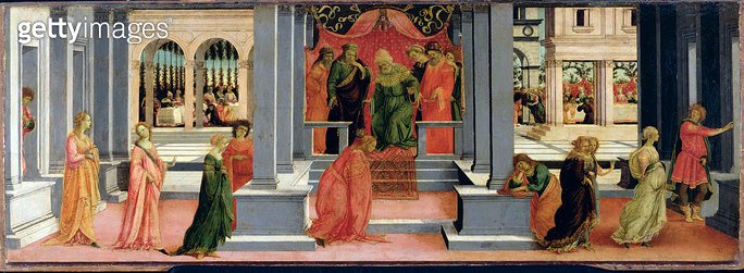 <b>Title</b> : Esther Chosen by King Ahasuerus, c.1475-80 (tempera on panel)Additional InfoQueen Vashti sent from the court;<br><b>Medium</b> : tempera on panel<br><b>Location</b> : Musee Conde, Chantilly, France<br> - gettyimageskorea