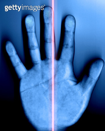 Security Breach - Hand Scanner With Red Laser - gettyimageskorea
