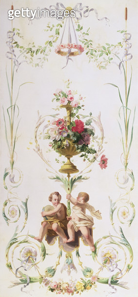 <b>Title</b> : Putti amid swags of flowers and leaves<br><b>Medium</b> : oil on canvas<br><b>Location</b> : Private Collection<br> - gettyimageskorea