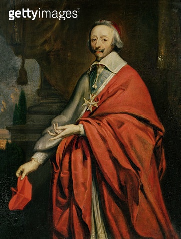 <b>Title</b> : Portrait of Cardinal de Richelieu (1585-1642) (oil on canvas)<br><b>Medium</b> : oil on canvas<br><b>Location</b> : Musee des Beaux-Arts, Rouen, France<br> - gettyimageskorea