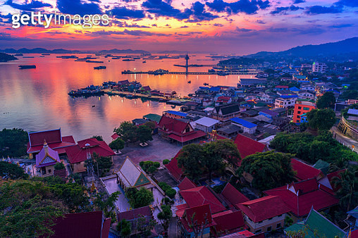 Si chang Island view, Beautiful landscape village and mountain view in the island. Travel on the morning to see sunrise at Koh Sichang Thailand. - gettyimageskorea