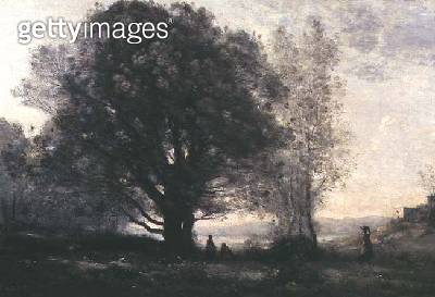 <b>Title</b> : The Green-oaks in the Valley (Les Chenes-verts Dans La Vallee)<br><b>Medium</b> : oil on canvas<br><b>Location</b> : Private Collection<br> - gettyimageskorea