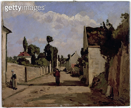 <b>Title</b> : Rue de l'Hermitage, Pontoise, c.1867 (oil on canvas mounted on panel)<br><b>Medium</b> : oil on canvas mounted on panel<br><b>Location</b> : Tel Aviv Museum of Art, Israel<br> - gettyimageskorea