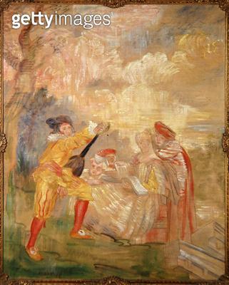 <b>Title</b> : The Music Lesson after Watteau, 1882 (oil on canvas)<br><b>Medium</b> : oil on canvas<br><b>Location</b> : Tel Aviv Museum of Art, Israel<br> - gettyimageskorea