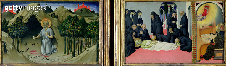 <b>Title</b> : The Penitence of St. Jerome and the Death and Apparition of St. Jerome to St. Cyril of Jerusalem, 1444 (oil on panel)Additional<br><b>Medium</b> : <br><b>Location</b> : Louvre, Paris, France<br> - gettyimageskorea