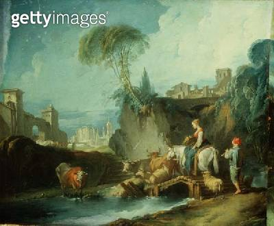 <b>Title</b> : Crossing the Bridge, late 1730s (left half of original painting with 73442)<br><b>Medium</b> : oil on canvas<br><b>Location</b> : Hermitage, St. Petersburg, Russia<br> - gettyimageskorea