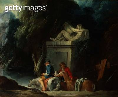 <b>Title</b> : Crossing the Ford, late 1730s (right half of original painting with 73441)<br><b>Medium</b> : oil on canvas<br><b>Location</b> : Hermitage, St. Petersburg, Russia<br> - gettyimageskorea
