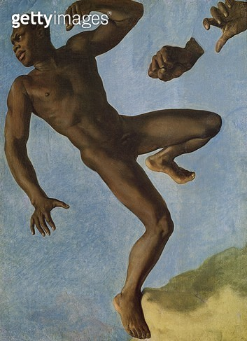 <b>Title</b> : Study of a Nude Negro, 1838 (oil on canvas)<br><b>Medium</b> : oil on canvas<br><b>Location</b> : Musee Ingres, Montauban, France<br> - gettyimageskorea