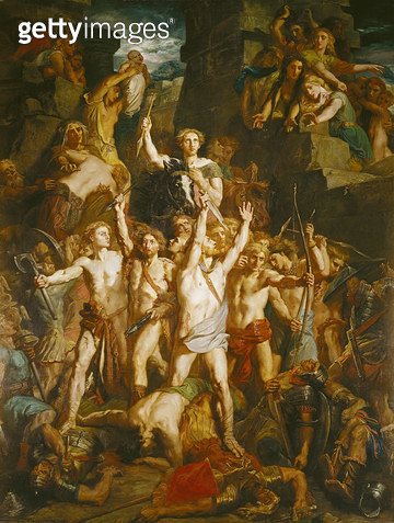 <b>Title</b> : The Defence of Gaul, 1855 (oil on canvas)<br><b>Medium</b> : oil on canvas<br><b>Location</b> : Musee Bargoin, Clermont-Ferrand, France<br> - gettyimageskorea