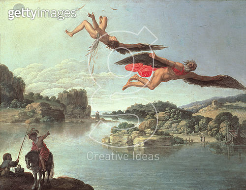 <b>Title</b> : The Fall of Icarus (oil on canvas)Additional Infoflew too close to the sun;<br><b>Medium</b> : <br><b>Location</b> : Museo e Gallerie Nazionale di Capodimonte, Naples, Italy<br> - gettyimageskorea
