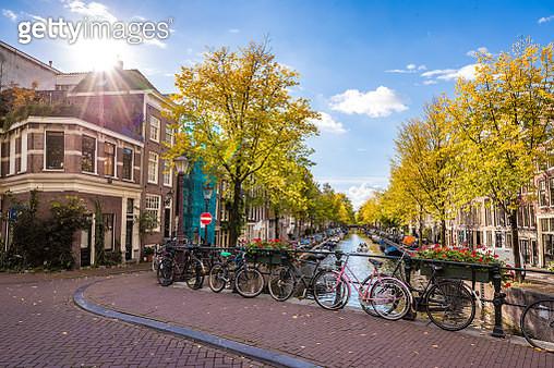 Amsterdam canal scene - gettyimageskorea