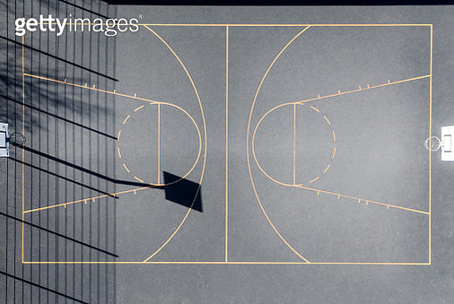 Aerial view of a outdoor basketball court. Drone view. - gettyimageskorea