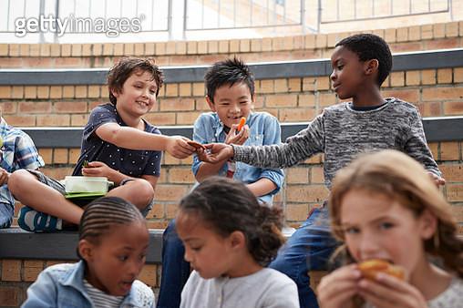 Children at modern school facility - gettyimageskorea