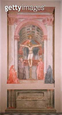 <b>Title</b> : The Trinity, 1427-28 (fresco) (post restoration) (see 81618)<br><b>Medium</b> : <br><b>Location</b> : Santa Maria Novella, Florence, Italy<br> - gettyimageskorea