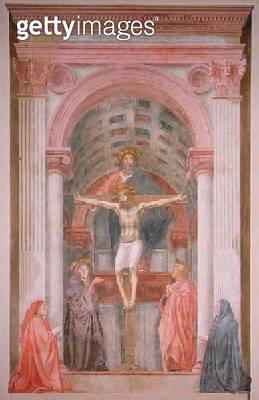 <b>Title</b> : The Trinity, 1427-28 (fresco) (post restoration) (detail) (see 81618, 173689 and 173691)<br><b>Medium</b> : <br><b>Location</b> : Santa Maria Novella, Florence, Italy<br> - gettyimageskorea