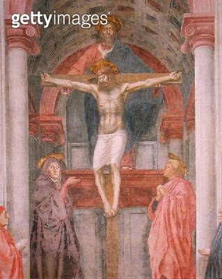 <b>Title</b> : The Trinity, 1427-28 (fresco) (post restoration) (detail) (see 81618, 173689 and 173690)<br><b>Medium</b> : <br><b>Location</b> : Santa Maria Novella, Florence, Italy<br> - gettyimageskorea