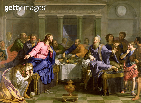 <b>Title</b> : Christ in the House of Simon the Pharisee, c.1656 (oil on canvas)Additional Infoa sinner or Mary Magdalene annointing Christ's f<br><b>Medium</b> : oil on canvas<br><b>Location</b> : Musee des Beaux-Arts, Nantes, France<br> - gettyimageskorea